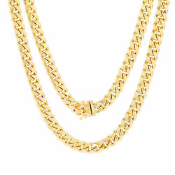 14k Yellow Gold Mens 7.5mm Miami Cuban Link Chain Pendant Necklace Box Clasp 20