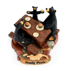 Family Picnic Midnight Black 6 X 5 Hand Cast Resin Stone Collectible Figurine