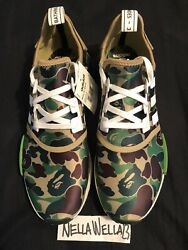 Authentic Adidas Nmd R1 Bape Camo Green Size Us 12.5 Ba7326 With Tags New Yeezy