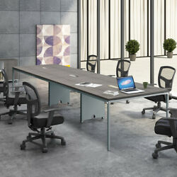 8ft - 12ft Modern Conference Table And Chairs Set With Mesh Chairs And Metal Base