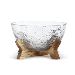 Decorative Clear 11 X 11 Glass Bowl With Natural Brown Wood Pedestal Base
