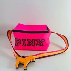 Victoria's Secret Pink Zip-Up Cooler Insulated Lunch Box Bag With Dog Key Chain