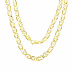 14k Yellow Gold Solid 7.5mm Mariner Anchor Chain Necklace 18-26