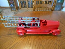 1920and039s John C. Turner Toys Fire Truck Aerial Ladder Pressed Steel 25 L Used