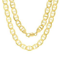 10k Yellow Gold Solid Mens 9mm Mariner Anchor Link Chain Necklace 22- 30