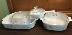 Vtg Lot Of Corelle By Corning Peach Floral Casserole Dishes And Bean Pot W/lids