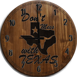 Large Wall Clock Donand039t Mess With Texas State Longhorn Star Bar Sign