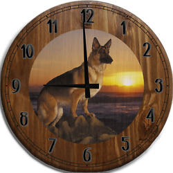 Large Wall Clock German Sheppard Dog Pearched On Rocks Overlooking Sunset
