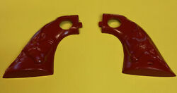 Hubley Cowboy Steerhead Plastic Molded Replacement Red Pepper Toy Gun Grips