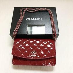 AUTHENTIC CHANEL BAG LOGO COCO MARK RED COLOR CHAIN WALLET $2025.32
