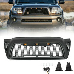 Front Grille Bumper Hood Mesh Grill For 2005-2011 Toyota Tacoma With Led Lights