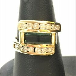 18k Yellow Gold Ring With Center Green Tourmaline And Diamonds Size 6