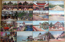 Lot Of 15 Vintage Picture Post Cards Tokyo Events Monuments Japan Hand Colored