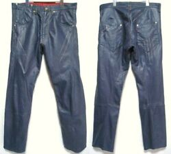 Red 1st Leather Pants Navy Color Size W34 L34 World Only 169 Rare