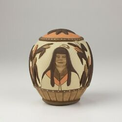 Native American Hopi Carved Seed Pot, Lawrence Namoki, Within My Mother