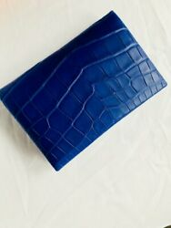 Rare Exquisite Hermes Matte Alligator Bleu Electrique Calvi WalletCard Holder