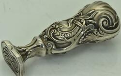 Antique 19th Century Imperial Russian Art-nouveau Solid Silver Personal Seal
