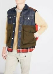 DSquared2 Contrast Panels Quilted Vest Green Plaid Puffer 48