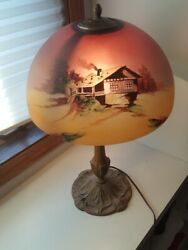 Antique Pittsburgh Reverse Painted Lamp