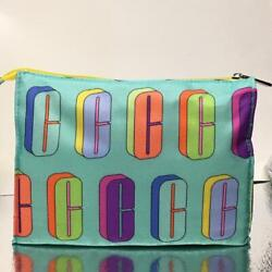 New Clinique Cosmetic Bag Travel Case Pouch Zip Top Logo Rainbow $4.99