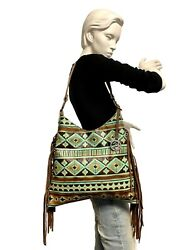 Raviani Hobo Bag Turquoise/brown Navajo Embossed Leather W/ Fringe Made In Usa