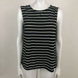 Demeanor Womens Size Large Black White Stripe Open Back Lace Trim Top