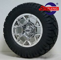 Golf Cart 12 Chrome Rally Wheels/rims And 22 Stinger Dot A/t Tires