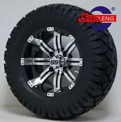 Golf Cart 12 Machined/black Tempest Wheels/rims And 22 Stinger Dot A/t Tires