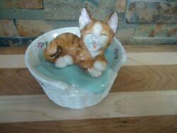 Vintage Music Box Tabby Cat In Wicker Bed-pillow-ceramic-mann-1960's