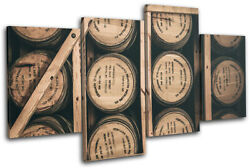 Whisky Bourbon Vintage Food Kitchen Multi Canvas Wall Art Picture Print