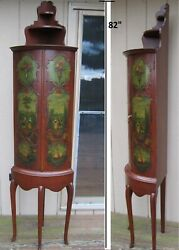 Queen Anne Style Corner Cabinet, Hand Painted ,vintage