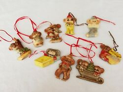 Vintage Set 91950and039s Flat Ceramic Handpainted Mice Christmas Ornaments Rare