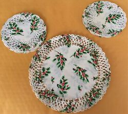 Beautiful Vintage Punched Paper Christmas Doilies Holly Leaves Red Berries 20 Pc
