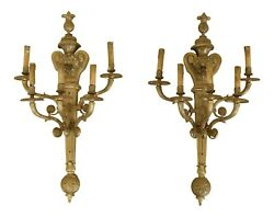 F31795ec Pair French Style Heavy Solid Brass 5 Light Wall Sconces