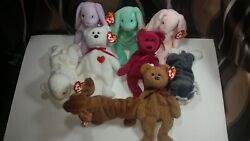 Vintage Beanie Babys Lot Of 9 With Errors Great Condition