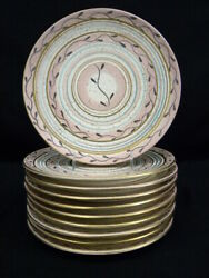 Set Of 10 1950and039s Circular Pink And Gold Speckles Ca Pottery 10 1/2 Dinner Plates