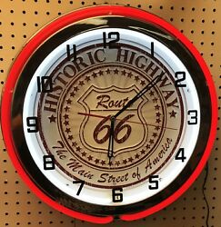 18 Route 66 Historic Highway Sign Double Neon Wall Clock Main Street Of America