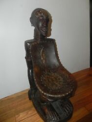Arts Of Africa - Songye Chair - Drc Congo - 27 H X 10 W X 17 L