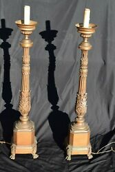 Pr Antique Lg Brass Church Altar Gothic Candle Stick Table Banquet Floor Lamps