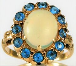 Antique 14k Yellow Gold Beautiful Fire Jelly Opal Blue Sapphire Halo Ring Size 4