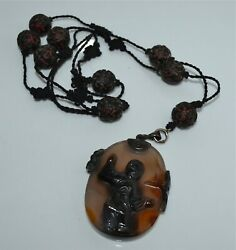 Antique Chinese Shadow Agate Silver Pendant Red Black Cinnabar Cord Necklace