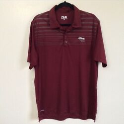 Ping Sensor Cool Maroon Striped TORREY PINES Embroidered Golf Polo Shirt Sz L $12.99