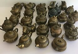 Vintage Collection Of 26 Antique Chinese Tibetan Brass Teapots Old Tea Pots
