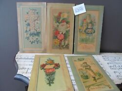 5 Antique 1887 German Victorian Easter, Girls, Flowers Large Cards
