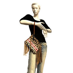 Raviani Fringe Wristlet Bag In Leopard Hair On Cowhide Leather And Pink Navajo