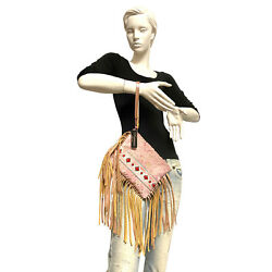 Raviani Fringe Clutch Bag In Pink And Gold Hair On Acid Wash Leather And Pink Navajo
