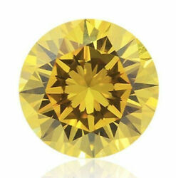 0.23 Carat Fancy Vivid Yellow Diamond Gia Certified Loose Natural Color Round