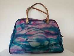 Vintage Prada bowling bag matinee dyed leather purse purple green navy blue red  $850.00