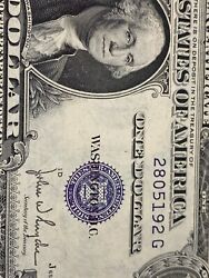 Error Obstructed Print 1935 D 1 Silver Certificate Miss Number Andletter Andyear !!