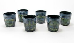 Prp Saturday Evening Girls Pottery 6 Landscape Medalion Mugs Arts And Crafts Blue